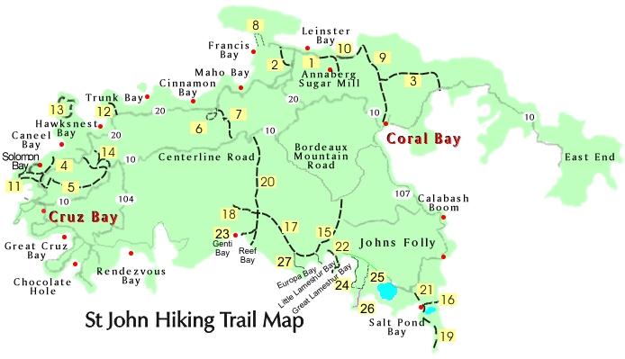 St John Map Hiking Trails Map